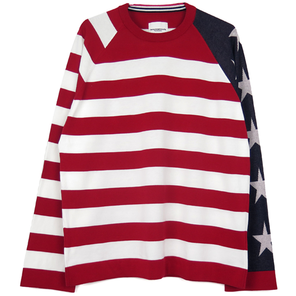 star&stripes sweater./navy×red×white