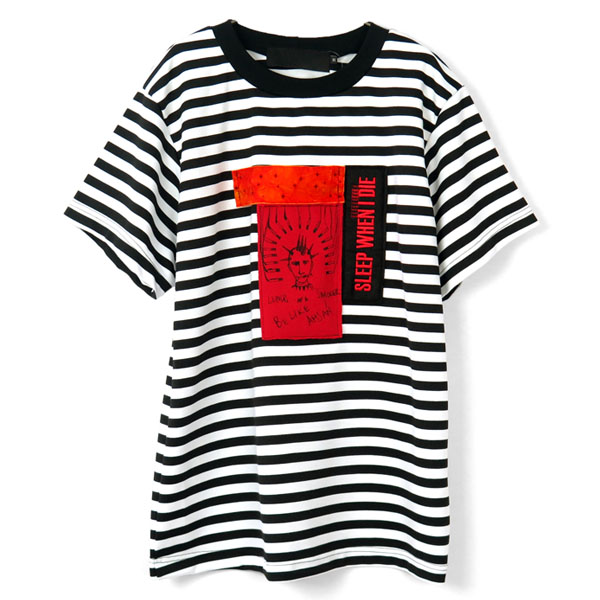 BORDER T-SHIRT(OVERSIZE FIT)/BLACK×WHITE