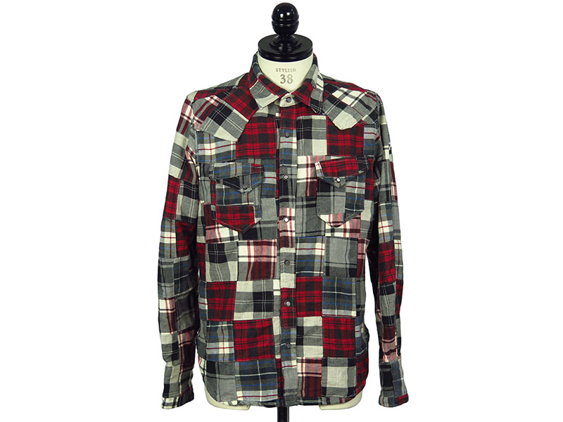 PATCHWORK CHECK SHIRTS(TSH-F1707)