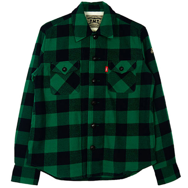 COTTON-WOOL BUFFALO CHECK SHIRTS/GREEN(TSH-F1803)