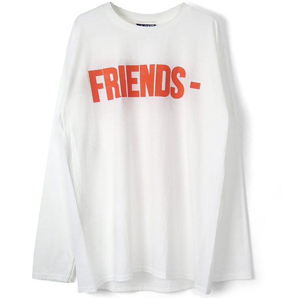 FRIENDS LONG SLEEVE TEE/WHITE/ORANGE