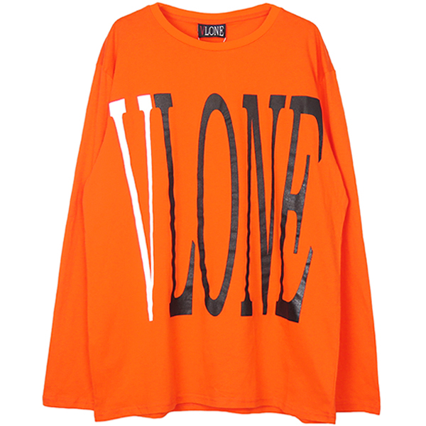 LOGO LS TEE/ORANGE/WHITE