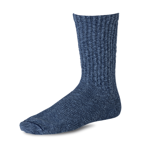 Over-dyed Tonal Cotton Ragg Crew Socks Blue