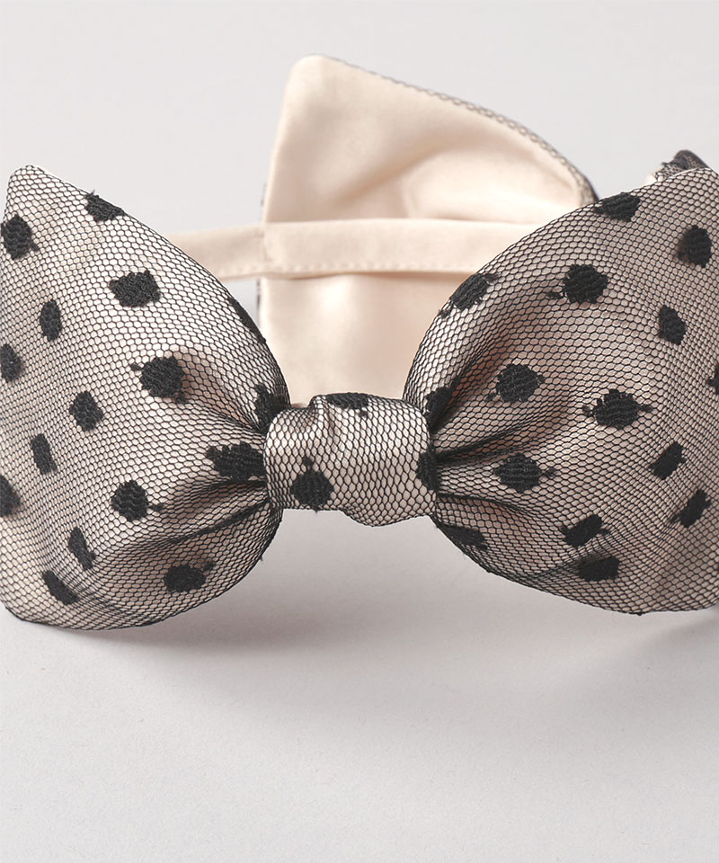 20 DOTTED TULLE DOUBLE BOW