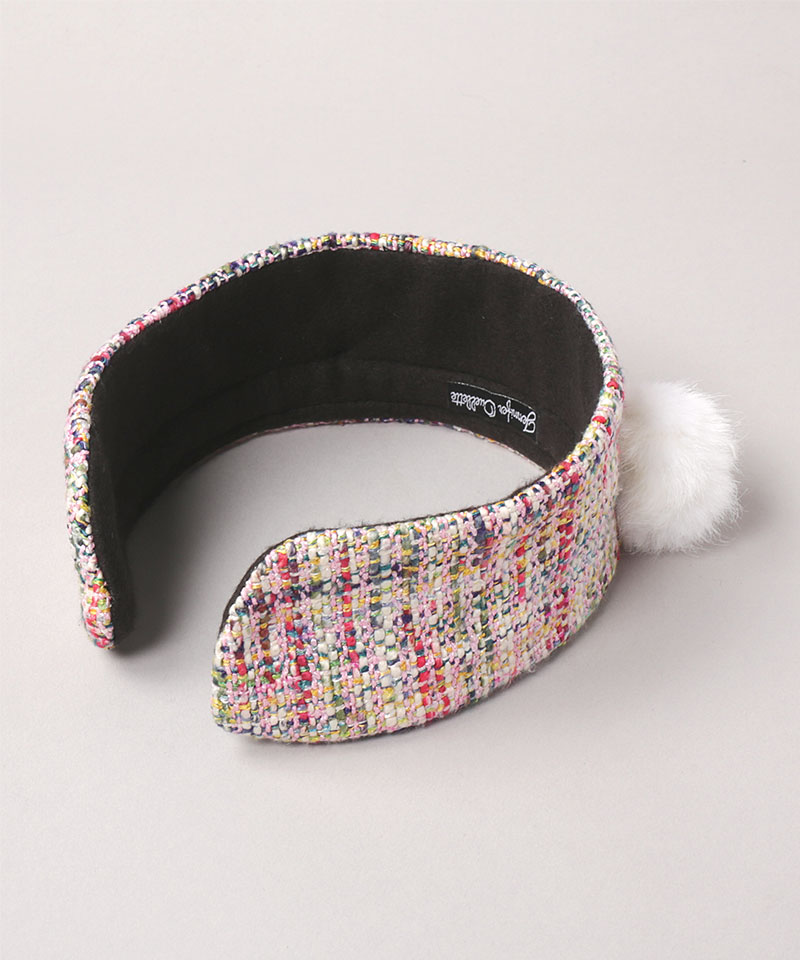 TWEED EARMUFFS WITH POM POM