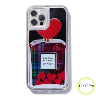 [アイフォリア]Liquid Case Tartan Heart Perfume for iPhone 12/12 Pro