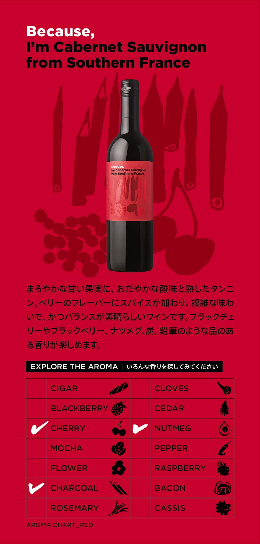 【更にお手頃価格になりました!】Because, I'm Cabernet Sauvignon from Southern France