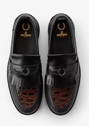 Fred Perry X George Cox Textured Leather Penny Loafer