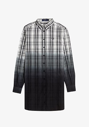 Ombre Tartan Shirt Dress