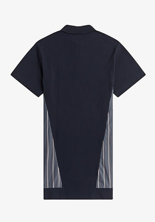 Woven Panel Polo Shirt Dress