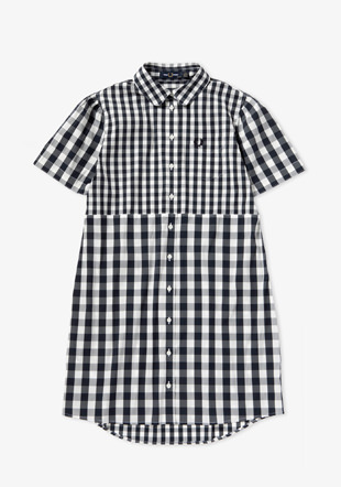Mixed Gingham Shirt Dress