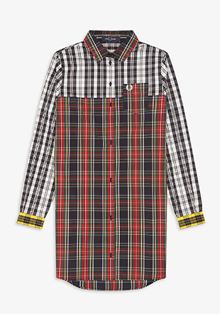 Mixed Tartan Shirt Dress