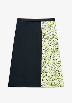 Floral Insert Pleated Skirt
