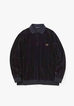 Velour Striped Polo Shirt