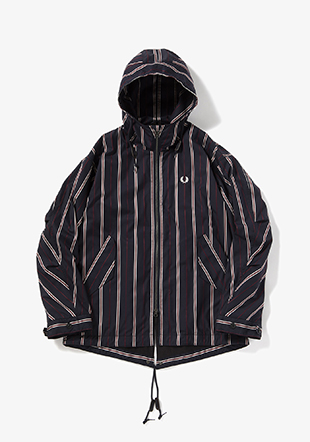 Striped Short Fishtail Parka