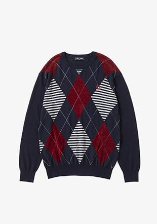 Argyle Crew Neck Knit Sweater