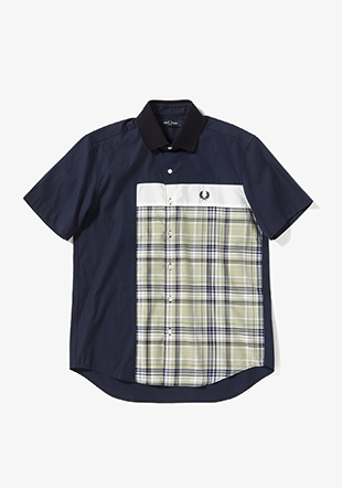 Mix Panelled Short Sleeve Shirt