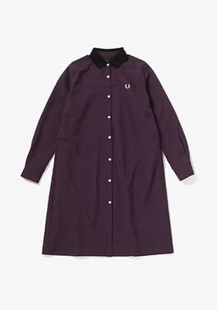Contrast Collar Shirt Dress