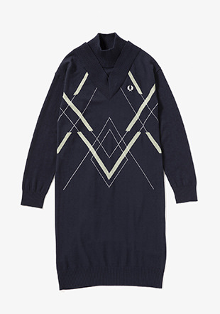 Abstract Argyle Knit Dress