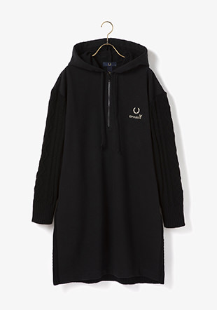 Ground Y × Fred Perry Women Panelled Hooded Sweatshirt