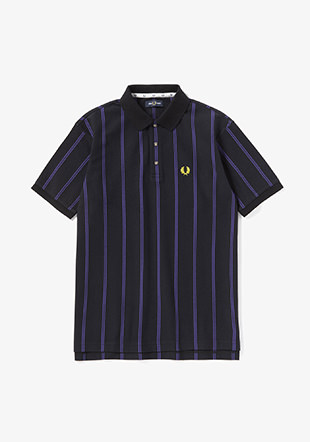 Vertical Stripe Pique Polo Shirt