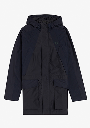Hooded Mixed Fabric Parka