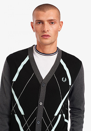 Abstract Argyle Cardigan