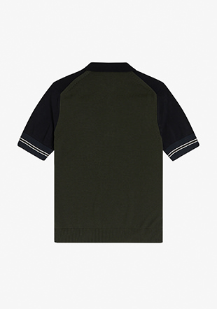 Contrast Panel Knitted Shirt