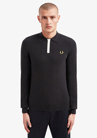 Ls Zip Neck Knitted Shirt