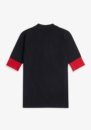 Contrast Cuff Knitted Shirt