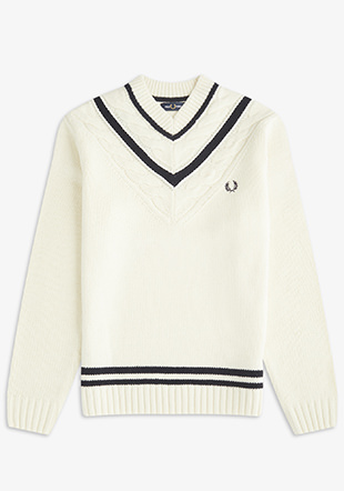 Striped V-Neck Tennis Jumper