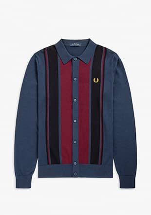 Colour Block Ls Knit Shirt