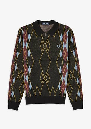 Argyle Zip Neck Jumper