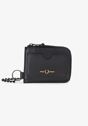 Chained Leather Zip Around Wallet