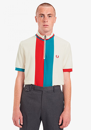 Stripe Funnel Neck Polo Shirt