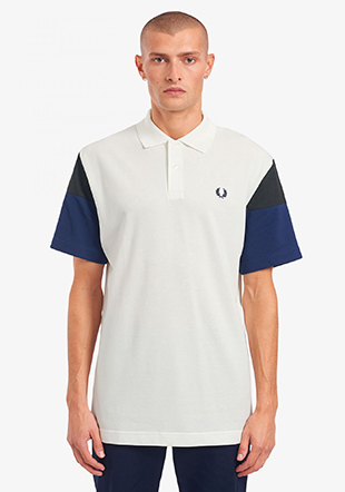 Woven Colour Block Polo Shirt