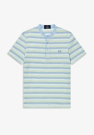 Reissues Collarless Striped Pique Shirt