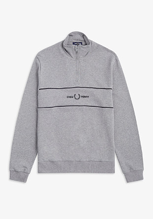 Emb Panel Half Zip Sweatshirt