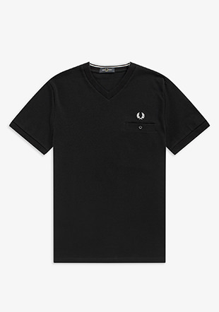Pocket Detail Pique V Neck Tee