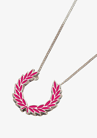 Enamelled Laurel Wreath Silver Necklace