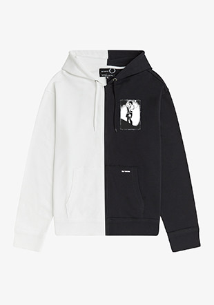 Raf Simons Patched Zip Through Hooded Sweatshirt
