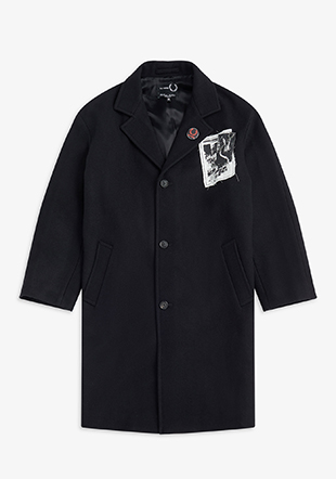 Raf Simons Printed Patch Wool Coat