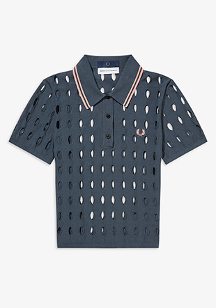 Akane Utsunomiya Hole Knit Polo Shirt