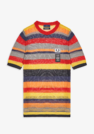 Art Comes First Striped Open Knit Crew Neck