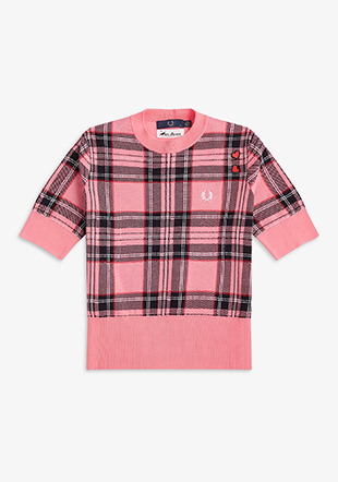 Amy Winehouse Short Sleeve Tartan Jumper