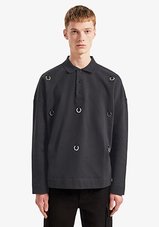Raf Simons Oversized Multi Laurel Wreath Polo Sweatshirt