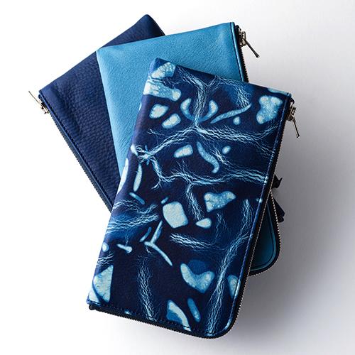 【池之端銀革店】Cramp×SUKUMO Leather 藍染めL字ファスナーロングウォレット