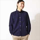 [スピナーベイト ネイビーレーベル]INDIGO DYED SHEERSOCCER TAB COLLOR SHIRT(3051IS)