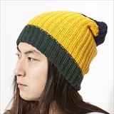 [コロンビアニット]BULKY KNIT COLOR BLOCK CAP