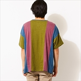 [ゴーヘンプ]WIDE PK TEE / STRIPE PATCHWORK